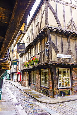 The Shambles, a preserved medieval street in York, North Yorkshire, England, United Kingdom, Europe - 1226-1038