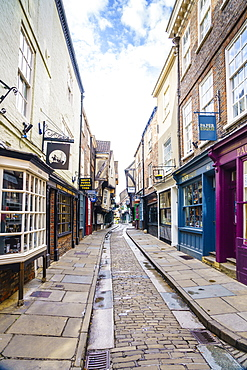 The Shambles, a preserved medieval street in York, North Yorkshire, England, United Kingdom, Europe - 1226-1043
