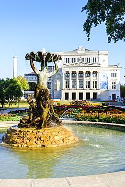 Fountain in front of Opera House, Riga, Latvia, Europe