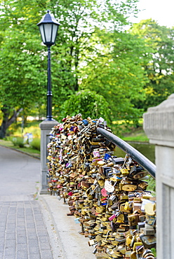 Lovers Locks on Bridge, Bastejkalnna Parks, Riga, Latvia, Europe