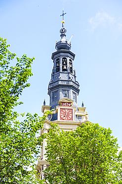 Zuiderkerk church tower, restored church built in 1611, Amsterdam, North Holland, The Netherlands, Europe