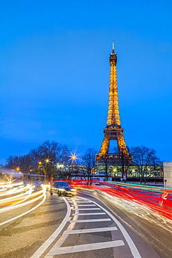 Eiffel Tower, traffic light trails, Paris, France, Europe