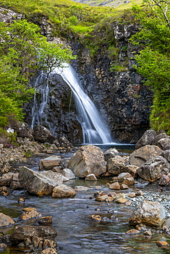 Waterfall at Fairy Pools, Glen Brittle, Isle of Skye, Inner Hebrides, Highlands and Islands, Scotland, United Kingdom, Europe