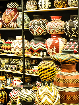 Woven baskets, display of traditional handicrafts, Bogota, Colombia, South America
