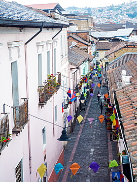 One of the narrow cobbled streets of Quito's historic centre, Quito, Ecuador, South America