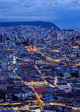 Old Town elevated view from El Panecillo, twilight, Quito, Pichincha Province, Ecuador, South America
