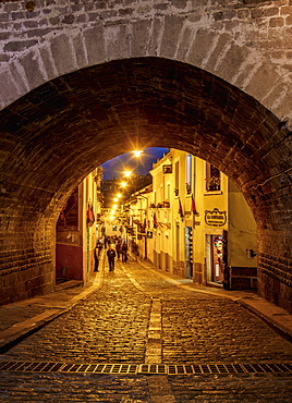 La Ronda Street at twilight, Old Town, Quito, Pichincha Province, Ecuador, South America