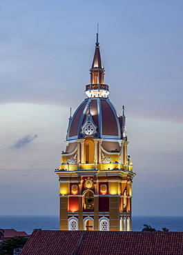 Metropolitan Cathedral Basilica of Saint Catherine of Alexandria, tower at dusk, Cartagena, Bolivar Department, Colombia, South America