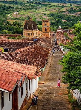 View towards La Inmaculada Concepcion Cathedral, Barichara, Santander Department, Colombia, South America