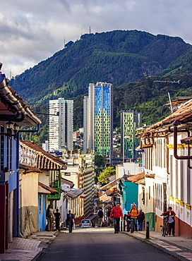 View over La Candelaria towards Aguas High Rise Buildings, Bogota, Capital District, Colombia, South America