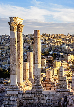 Temple of Hercules ruins at sunset, Amman Citadel, Amman Governorate, Jordan, Middle East