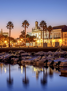 View over Marina towards Arco da Vila at dawn, Faro, Algarve, Portugal, Europe