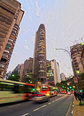 Twilight view of the Ipiranga Avenue and the Edificio Italia, City of Sao Paulo, State of Sao Paulo, Brazil, South America