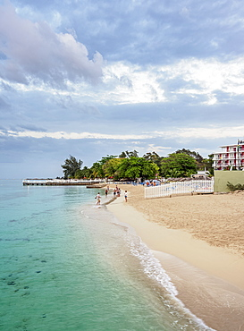 Doctor's Cave Beach at dusk, Montego Bay, Saint James Parish, Jamaica, West Indies, Caribbean, Central America