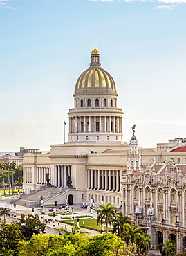 El Capitolio and Gran Teatro Alicia Alonso, elevated view, Havana, La Habana Province, Cuba, West Indies, Central America