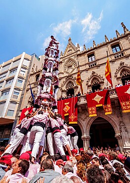 Castell human tower in front of the City Hall during the Festa Major Festival, Terrassa, Catalonia, Spain, Europe