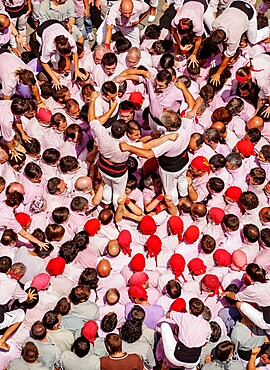 Castell human tower in front of the City Hall during the Festa Major Festival, elevated view, Terrassa, Catalonia, Spain, Europe