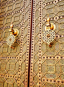 Doors of the Hassan Mosque, detailed view, Rabat, Rabat-Sale-Kenitra Region, Morocco, North Africa, Africa