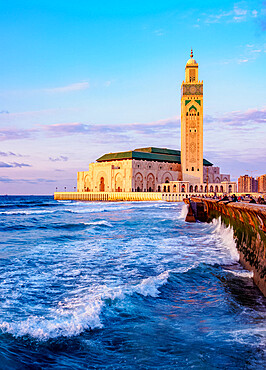 The Hassan II Mosque at sunset, Casablanca, Casablanca-Settat Region, Morocco, North Africa, Africa
