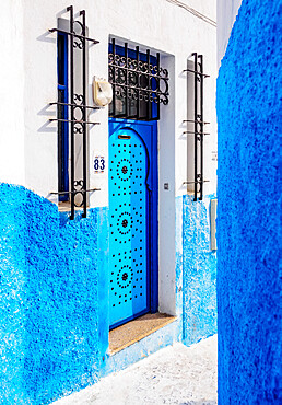 Blue street in Kasbah of the Udayas, Rabat, Rabat-Sale-Kenitra Region, Morocco, North Africa, Africa