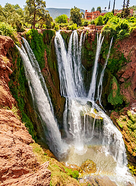 Ouzoud Falls near the Middle Atlas village of Tanaghmeilt, elevated view, Azilal Province, Beni Mellal-Khenifra Region, Morocco, North Africa, Africa