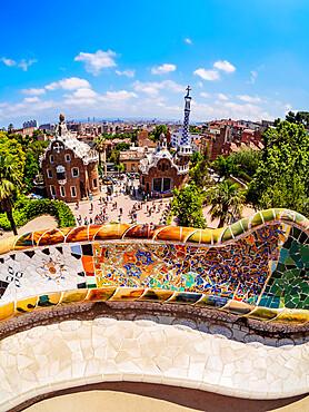 Parc Guell, famous park designed by Antoni Gaudi, UNESCO World Heritage Site, Barcelona, Catalonia, Spain, Europe