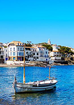 Traditional Fishing Boat by the coast of Cadaques, Cap de Creus Peninsula, Catalonia, Spain