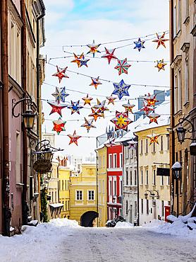 Christmas Decorations at Grodzka Street, Old Town, winter, Lublin, Lublin Voivodeship, Poland