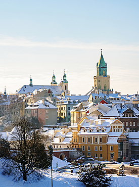 Old Town Skyline featuring St John the Baptist Cathedral and Trinitarian Tower, winter, Lublin, Lublin Voivodeship, Poland