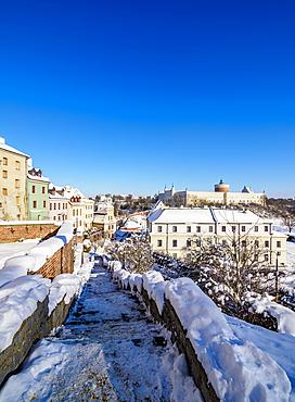 View towards the Castle, winter, Lublin, Lublin Voivodeship, Poland