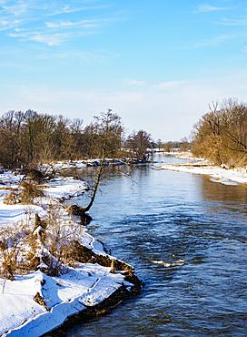 River Wieprz at winter time, elevated view, Serniki, Lublin Voivodeship, Poland