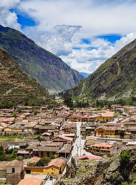 Ollantaytambo, elevated view, Sacred Valley, Cusco Region, Peru, South America