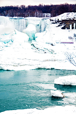Frozen Niagara Falls in March, Ontario, Canada, North America
