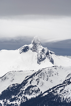 A view of Black Tusk from the peak of Whistler Mountain, British Columbia, Canada, North America