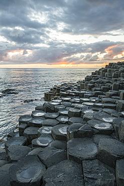 Giants Causeway at sunset, UNESCO World Heritage Site, County Antrim, Ulster, Northern Ireland, United Kingdom, Europe