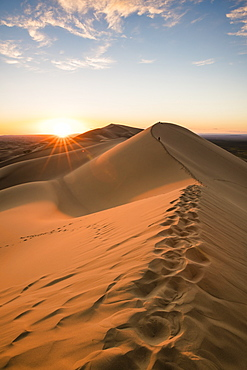Sunset on Khongor sand dunes in Gobi Gurvan Saikhan National Park, Sevrei district, South Gobi province, Mongolia, Central Asia, Asia
