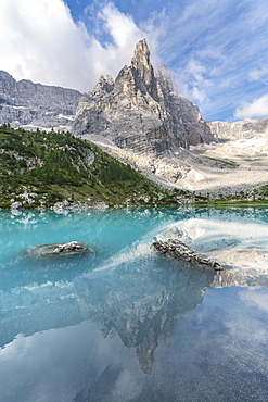 Sorapis mountain group above Lake Sorapis in Cortina d'Ampezzo, Italy, Europe
