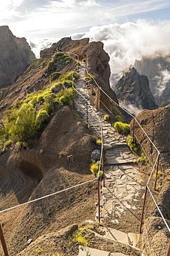 Vereda do Areeiro, the trail that links Pico Ruivo to Pico do Arieiro. Funchal, Madeira, Portugal, Atlantic, Europe