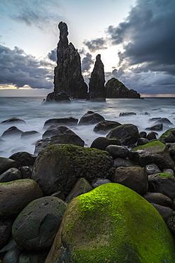 Rib and Janela islets at dusk, Porto Moniz, Madeira, Portugal, Atlantic, Europe