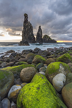 Rib and Janela islets at dawn, Porto Moniz, Madeira, Portugal, Atlantic, Europe