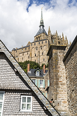 View of Mont Saint-Michel Abbey from below, UNESCO World Heritage Site, Mont-Saint-Michel, Normandy, France, Europe