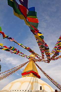 Prayer flags of Boudhanath Stupa, UNESCO World Heritage Site, Kathmandu, Nepal, Asia