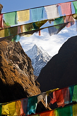 Mountain and prayer flags of Southern Tibet, Himalayas, China, Asia