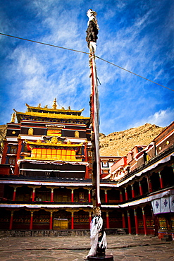 Courtyard temple of Tashi Lhunpo Monastery, Shigatse, Tibet, China, Asia