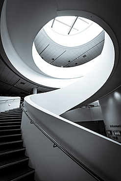 The spiral staircase in the Museum of Liverpool that forms part of the famous waterfront along the River Mersey, Liverpool, Merseyside, England, United Kingdom, Europe
