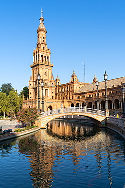 The North Tower of Plaza de Espana, Parque de Maria Luisa, Seville, Andalusia, Spain, Europe