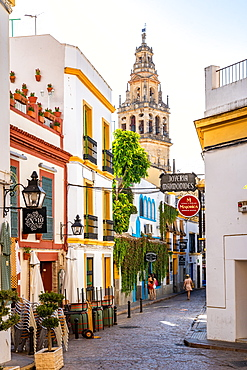 The Bell Tower of Cordoba Mosque Cathedral seen through a typical Andalusian street, Cordoba, Andalusia, Spain, Europe