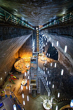 Salina Turda, underground salt mine tourist attraction in Turda city, Romania, Europe
