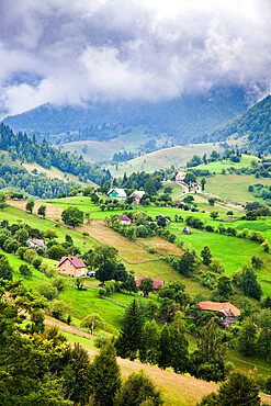 Rural landscape of Magura village, 1,000 metres up in the mountains, in the Piatra Craiului National Park