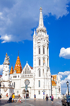 The Church of the Assumption of the Buda Castle or Matthias Church located in the Holy Trinity Square, Budapest, Hungary.